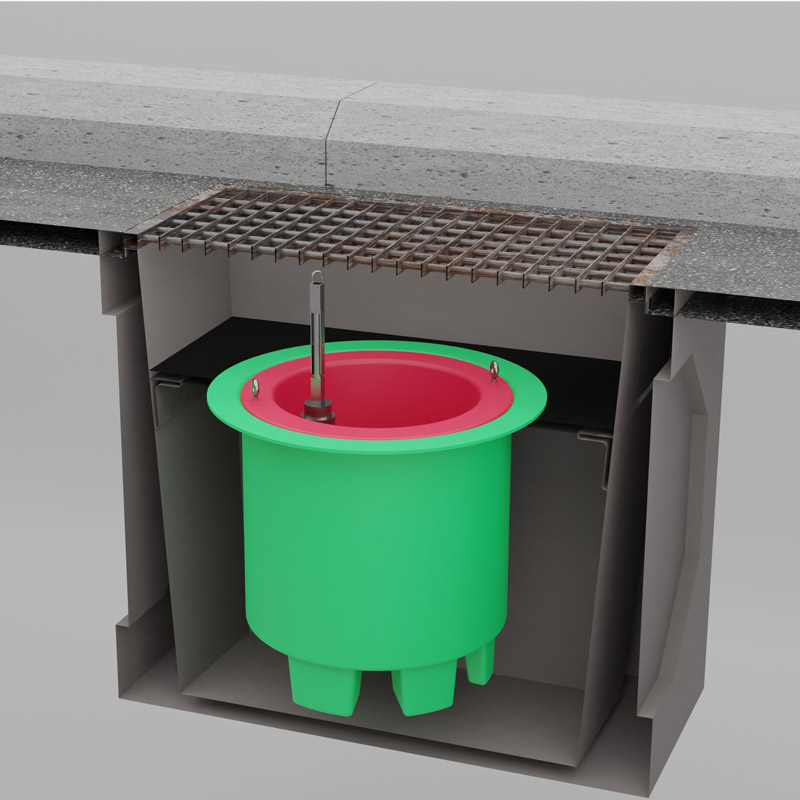 DrainSAFE™ stormwater isolation device cutaway view of device installed in drain pit