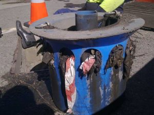 used diffuser of DrainSAFE stormwater isolation device is filled with sediment and rubbish